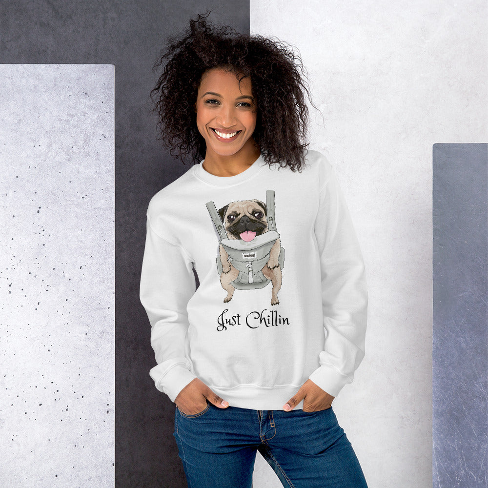 "Cute Pug ""Just Chillin"" in Carrier Graphic Unisex Sweatshirt"