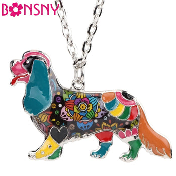 Bonsny Statement DOG Collection Alloy Cavalier King Charles Spaniel Choker Necklace Chain Collar Pendant Enamel Jewelry Women