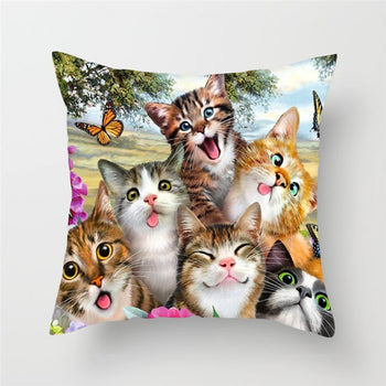 Cat and Dog Cushion Cover