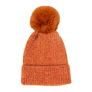 Soft & Cozy Solid Color Chenille Pom Pom Hat Beanie Winter Hat, before running out the door into the cool air, reach for this toasty hat to keep you incredibly warm. Accessorize with this faux fur pom pom hat, it's the autumnal touch finish your outfit in style. Best gift accessory! Black, Olive, Navy, Red, Gray, Pink
