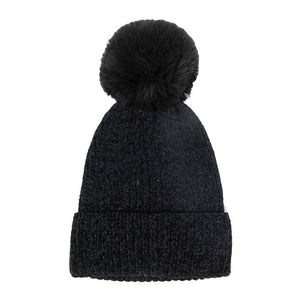 Black Solid Chenille Pom Pom Beanie Hat Pom Pom Winter Hat Chenille Beanie Hat Solid Color Hat Warm Beanie Womens Hat Solid Chenille Hat Faux Fur Pom Pom Hat Faux Fur Beanie