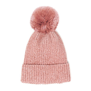 Pink Solid Chenille Pom Pom Beanie Hat Pom Pom Winter Hat Chenille Beanie Hat Solid Color Hat Warm Beanie Womens Hat Solid Chenille Hat Faux Fur Pom Pom Hat Faux Fur Beanie