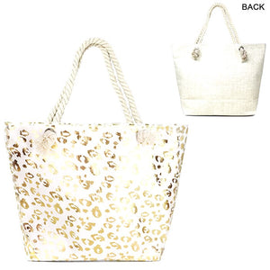 Metallic Leopard Pattern Print Beach Tote Bag Shopper, roomy enough for all your essentials for a day out, whether its a day at the beach, poolside or getaway. Folds flat for easy packing. Adding a sparkle that catches everyone's eyes. Zipper Closure, holds items secure. Gold, Silver; 90% Paper, 10% Polyester