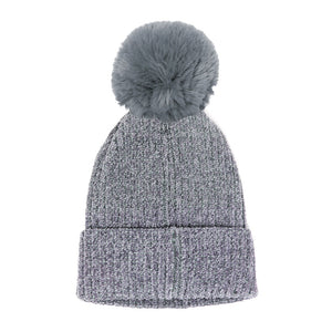 Gray Solid Chenille Pom Pom Beanie Hat Pom Pom Winter Hat Chenille Beanie Hat Solid Color Hat Warm Beanie Womens Hat Solid Chenille Hat Faux Fur Pom Pom Hat Faux Fur Beanie