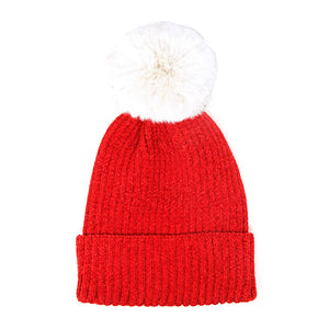 Red Solid Chenille Pom Pom Beanie Hat Pom Pom Winter Hat Chenille Beanie Hat Solid Color Hat Warm Beanie Womens Hat Solid Chenille Hat Faux Fur Pom Pom Hat Faux Fur Beanie