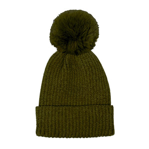 Olive Solid Chenille Pom Pom Beanie Hat Pom Pom Winter Hat Chenille Beanie Hat Solid Color Hat Warm Beanie Womens Hat Solid Chenille Hat Faux Fur Pom Pom Hat Faux Fur Beanie