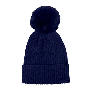 Navy Chenille Pom Pom Beanie Hat Pom Pom Winter Hat Chenille Beanie Hat Solid Color Hat Warm Beanie Womens Hat Solid Chenille Hat Faux Fur Pom Pom Hat Faux Fur Beanie