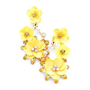 Bloom Flower Rhinestone Pearl Dangle Earrings, add this statement earring, flower stud earring, bright centerpiece & light up any outfit with timeless elegance & feel absolutely flawless. Fabulous fashion & sleek style adds a pop of pretty color, coordinate with any ensemble from business casual to everyday wear.