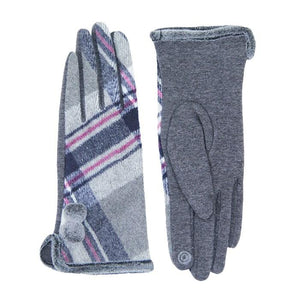 Cozy Faux Fur Trim Gloves Gray Plaid Gloves Pom Decor Gloves Smart Touch, trendy, warm & comfy plaid pattern exactly what you need to spice up your outfit. Stretch for comfort and flexability. Tech-friendly at the index fingertips, Ideal for touchscreens, swipe away! Perfect Gift Birthday, Holiday, Christmas, Anniversary...