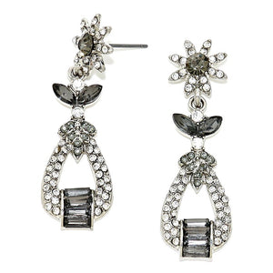 Bedazzling Floral Rhinestone Evening Stud Earrings Special Occassion, an artisanal-inspired multi shape of bezeled stones turns these dangling earrings into a chic emblem of your statement-making style, wear these intricate earrings to stand out and shine  this season! AB Gold, AB Silver, Gray/Silver; Post Back