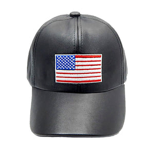 "Show your patriotic side with this embroidered american flag Faux Leather baseball cap. Perfect for protecting you from the sun on that hot summer day while enjoying the BBQ or poolside.  • Color : Black, Clear • Theme : Patriotic  • Crown Circumference : 23""  • Crown Height : 4""  • Brim Width : 3""  • Material : 65% Acrylic / 35% Cotton • Adjustable"