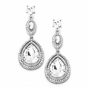 Classic, Elegant Vi Victorian Teardrop Crystal Rhinestone Evening Earrings, Special Occasion, the perfect set of sparkling earrings, pair these sparkling studs with any ensemble for a polished & sophisticated glowing look.  Ideal for dates, job interview, night out, prom, wedding, sweet 16, Quinceanera, any special day.