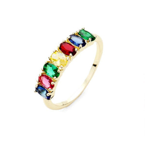 Dazzling Colorful CZ Ring, multi color cubic zirconia Ring, faceted oval stones lined with a beautiful, modern look. Cheery colors brighten up any day! Sizes: 8, 9; Perfect for Mom, Wife, Girlfriend, Special Occasion, Prom, Gift, Sweet 16, Quinceañera, Birthday, Valentine's Day Gift, Ring Place Holder, Bridesmaid Gift