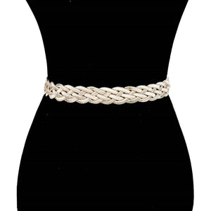 Shiny Braided Waist Belt Lobster Clasp with Chain Extension, add some glitz to a pair of jeans & T-shirt or cinch your dress at the waist. Use the extension chain to adjust length & use on hips, dare to dazzle, will make a standout style, coordinates with any ensemble from day to night. Perfect gift! Metallic Color
