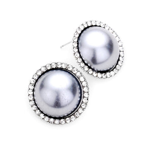 Classic Elegant Crystal Pave Trimmed Pearl Stud Earrings Special Occasion, elegance becomes you in these lustrous studs, luminous faux pearls and sparkling pavé rhinestones adding just the right amount of shine, a look that's polished to perfection. Rhodium, Gold, Gray; Weddings, Prom, Sweet 16, Quinceanera, Graduation