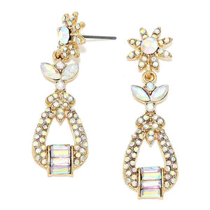 AB Crystal Gold Earrings An artisan-inspired multi shape of crystals turns these dangling earrings into a chic emblem of your statement-making style, wear these intricate earrings to stand out & shine! Perfect Birthday Gift, Anniversary Gift, Valentine's Day Gift, Mother's day Gift, Prom Earrings, Bridal Earrings
