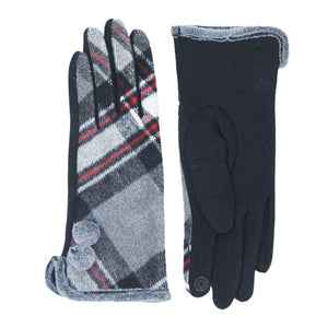 Cozy Faux Fur Trim Gloves Black Plaid Gloves Pom Decor Gloves Smart Touch, trendy, warm & comfy plaid pattern exactly what you need to spice up your outfit. Stretch for comfort and flexability. Tech-friendly at the index fingertips, Ideal for touchscreens, swipe away! Perfect Gift Birthday, Holiday, Christmas, Anniversary...