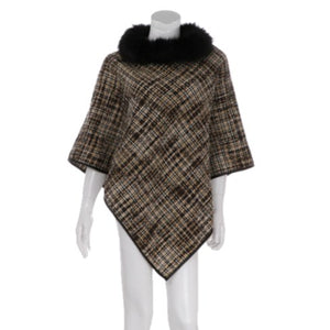 Soft Cozy Warm Plaid Check Poncho Faux Fur Neck Collar Poncho Ruana, ensure your upper body stays perfectly toasty when the temperatures drop, classic, gently nestles around the neck, feels comfortable. An eye catcher, will become your favorite accessory, coordinates with all your winter outfits. Ideal Holiday Gift