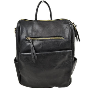 Best Seller - Modern Chic Vegan Multi Pocket, Faux Leather Backpack, largely spaced, daily necessities can be put into this bag, suitable for different ages, very fashionable, you can take it to a school, work or a day trip, simple sophistication, dress to impress. Black, Brown, Gray, Mustard, Red, Taupe; Perfect Gift