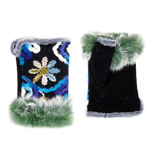 Multi Color Flower Embroidery Faux Fur Wrist Fingerless Gloves Mittens, gives your look so much eye-catching texture with these floral adorned muffs on a cozy faux suede, very fashionable, attractive, cute looking in winter season, these warm mitts allow you to use your phones w/ ease. Perfect Gift! Black, Brown, Teal;