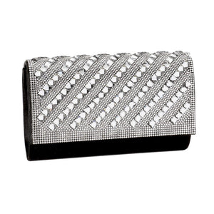 Oblique Crystal Embellished Clutch Evening Bag, Shimmery stones adorn the flap of this special occasion bag, finished in fine satin. This soiree-ready evening bag is furnished with a strap for multiple carrying options. Ideal Birthday Gift, Anniversary, Prom, Christmas, Holiday Party, Sweet 16, Wedding, Quinceanera