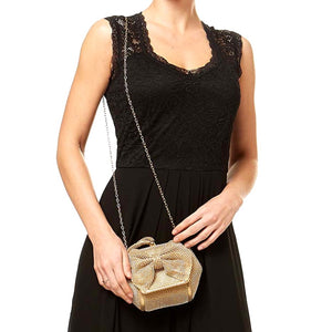 Exquiste Bow Stone Wristlet, Evening Clutch Bag, Shoulder bag, Crossbody bag, detach chain, sparkling, classic, elegant crystal-embellished special occasion, shines from every angle, looks great with your dress, use on a night out, wedding, prom, party, graduation, sweet 16, quiceanera, cocktail, banquet. Perfect Gift