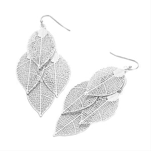 Lightweight Metal Leaf Cluster Vine Dangle Fishhook Earrings, ultra-chic will take your look up a notch, versatile enough for wearing straight through the week, dainty & delicate for all-day wear, coordinate with any ensemble from business casual to everyday wear, the perfect addition to every outfit. Perfect Gift.