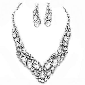 Classic Glass Crystal Inset Necklace w/ matching Earrings, dare to dazzle with this bejeweled set designed to accent the neckline and enhance the eyes. Perfect for that LBD, add some glitz and Glamour. Ideal gift for a loved one or yourself. Perfect for a night out, holiday party, special event, wedding, prom, sweet 16