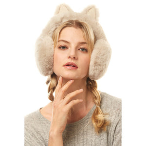 Luxurious Beige Cat Ear Faux Fur Earmuffs Plush Beige Cat Ear Earmuffs, Posh hat-hair-free option to beanies/hats, so comfy/warm, fit securely around your head & against your ears. Stay cute & cozy this season with these muffs, the perfect cold weather accessory. Perfect Gift Birthday, Holiday, Christmas
