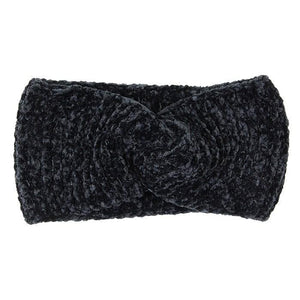 Comfy Twisted Solid Knit Earmuff Headband Ear Warmer, soft will shield your ears from cold winter weather ensuring all day comfort, knotted headband creates a cozy, trendy look, both comfy and fashionabler. These are so soft and toasty you'll want to wear them everywhere. Black, Olive, Burgundy, White; 100% Acrylic;