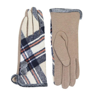 Cozy Faux Fur Trim Gloves Beige Plaid Gloves Pom Decor Gloves Smart Touch, trendy, warm & comfy plaid pattern exactly what you need to spice up your outfit. Stretch for comfort and flexability. Tech-friendly at the index fingertips, Ideal for touchscreens, swipe away! Perfect Gift Birthday, Holiday, Christmas, Anniversary...