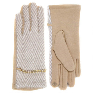 Classic Herringbone Pattern Gold Chain Accent Smart Touch Gloves, cozy design made with a mix of materials giving it a trendy, chic style, perfect addition to any stylish winter wardrobe. Sleek and stylish matches your clothes perfectly. Touchscreen compatible, stretch for a snug fit. Burgundy, Black, Beige, Ideal Gift