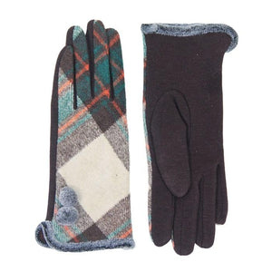 Cozy Faux Fur Trim Gloves Brown Plaid Gloves Pom Decor Gloves Smart Touch, trendy, warm & comfy plaid pattern exactly what you need to spice up your outfit. Stretch for comfort and flexability. Tech-friendly at the index fingertips, Ideal for touchscreens, swipe away! Perfect Gift Birthday, Holiday, Christmas, Anniversary...