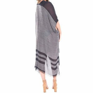 Two Tone Line Long Cover-up Cardigan Poncho Kimono, Beach/Poolside chic is made easy with this lightweight cover-up featuring tonal line & a relaxed silhouette, look perfectly breezy & laid-back as you head to the beach. An accessory easy to pair with so many tops, elevating any casual outfit! Perfect Gift!