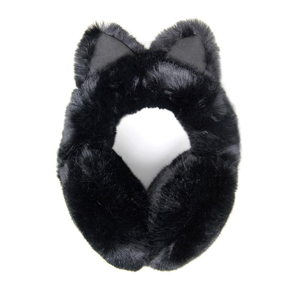 Luxurious Black  Cat Ear Faux Fur Earmuffs Plush Black Cat Ear Earmuffs, Posh hat-hair-free option to beanies/hats, so comfy/warm, fit securely around your head & against your ears. Stay cute & cozy this season with these muffs, the perfect cold weather accessory. Perfect Gift Birthday, Holiday, Christmas