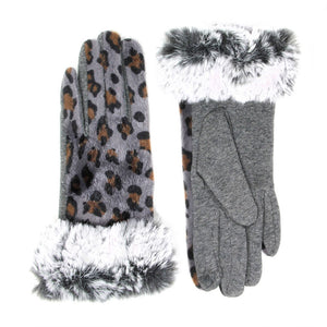 Eye-catching, Warm & Cozy Leopard Print Faux Fur Trim Smart Touch Gloves, comfy, classic chic with cozy-looking faux fur cuff are the perfect blend of utility and style, animal print design adds that little something extra to your wardrobe & ensures you can answer emails without getting frostbite. Red, Tan, Gray, Brown