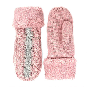 So Plush Two Tone Cable Knit Fuzzy Trim Mitten Gloves are exceptionally warm & protect you from winter's cold winds. Stylish & comfortable, chic & glam are the perfect accessory to complete any outfit. Can be worn everyday, keep your hands cozy while staying stylish. The perfect present for yourself or a loved one!