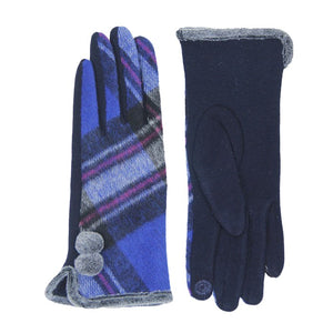 Cozy Faux Fur Trim Gloves Navy Plaid Gloves Pom Decor Gloves Smart Touch, trendy, warm & comfy plaid pattern exactly what you need to spice up your outfit. Stretch for comfort and flexability. Tech-friendly at the index fingertips, Ideal for touchscreens, swipe away! Perfect Gift Birthday, Holiday, Christmas, Anniversary...