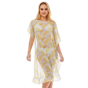 Tropical & Leaf Feather Half Ruffled Cover-up Poncho, Beach, Poolside chic is made easy with this lightweight cover-up featuring tonal line & a relaxed silhouette, look perfectly breezy & laid-back as you head to the beach. An accessory easy to pair with so many tops, elevating any casual outfit! Perfect Gift!
