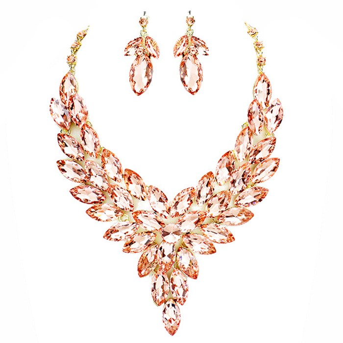 MARQUISE OVAL GLASS CRYSTAL CLUSTER VINE EVENING SET NECKLACE & EARRING SPECIAL OCCASION