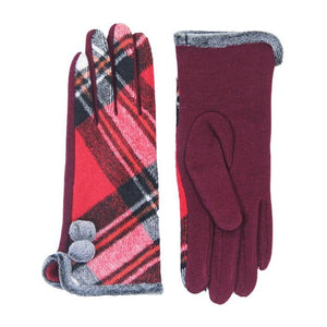 Cozy Faux Fur Trim Gloves Red Plaid Gloves Pom Decor Gloves Smart Touch, trendy, warm & comfy plaid pattern exactly what you need to spice up your outfit. Stretch for comfort and flexability. Tech-friendly at the index fingertips, Ideal for touchscreens, swipe away! Perfect Gift Birthday, Holiday, Christmas, Anniversary...