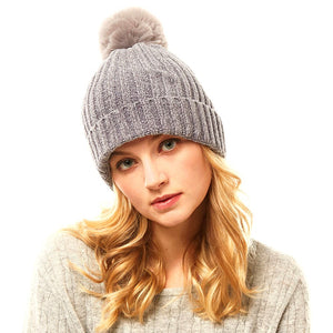 Solid Chenille Pom Pom Beanie Hat Pom Pom Winter Hat Chenille Beanie Hat Solid Color Hat Warm Beanie Womens Hat Solid Chenille Hat Faux Fur Pom Pom Hat Faux Fur Beanie
