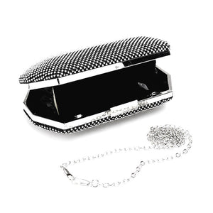 Glamorous Crystal Rhinestone Pave Evening Clutch Bag w Chain Strap, go for bold and brilliant with this polished clutch adorned clear rhinestone gems, and features a delicate chain for crossbody wear when you need to go hands-free. Ideal Birthday Gift, Anniversary, Prom, Christmas, Holiday Party, Sweet 16, Wedding, Quince