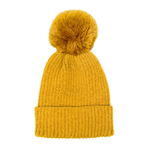 Mustard Solid Chenille Pom Pom Beanie Hat Pom Pom Winter Hat Chenille Beanie Hat Solid Color Hat Warm Beanie Womens Hat Solid Chenille Hat Faux Fur Pom Pom Hat Faux Fur Beanie
