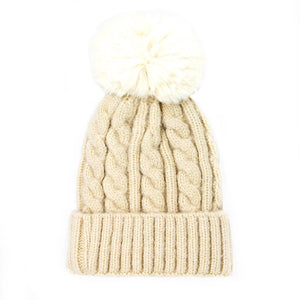 Chunky Warm Cable Knit Pom Pom Solid Beanie Winter Hat, accessorize the fun way with this faux fur pom pom knit hat, the autumnal touch you need to finish your outfit in style. Keep warm, be trendy; Great winter gift accessory! Gray, Beige, Black, Burgundy, Green, Ivory, Mustard, Navy, Pink, Red; One Size; 100% Acrylic