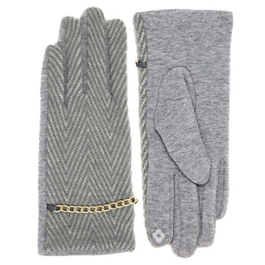 Leah Classic Herringbone Pattern Gold Chain Accent Smart Touch Gloves