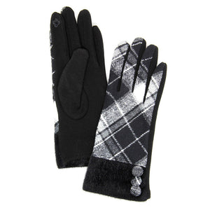 Button Accent Black Faux Fur Cuff Gloves Black Tartan Plaid Gloves Black Tartan Plaid Smart Gloves Black Tartan Plaid Warm Winter Gloves; fashionable, softly brushed poly stretch knit, finished with a hint of stretch for comfort, flexibility, elegant classy look in winter season. Perfect Gift Birthday, Christmas, Stocking Stuffer, Anniversary