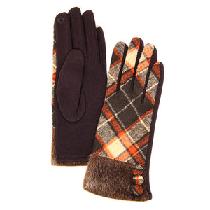 Button Accent Brown Faux Fur Cuff Gloves Brown Tartan Plaid Gloves Brown Tartan Plaid Smart Gloves Brown Tartan Plaid Warm Winter Gloves; fashionable, softly brushed poly stretch knit, finished with a hint of stretch for comfort, flexibility, elegant classy look in winter season. Perfect Gift Birthday, Christmas, Stocking Stuffer, Anniversary