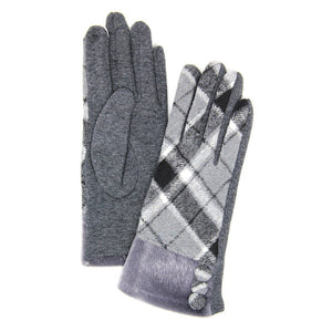 Button Accent Gray Faux Fur Cuff Gloves Gray Tartan Plaid Gloves Gray Tartan Plaid Smart Gloves Gray Tartan Plaid Warm Winter Gloves; fashionable, softly brushed poly stretch knit, finished with a hint of stretch for comfort, flexibility, elegant classy look in winter season. Perfect Gift Birthday, Christmas, Stocking Stuffer, Anniversary