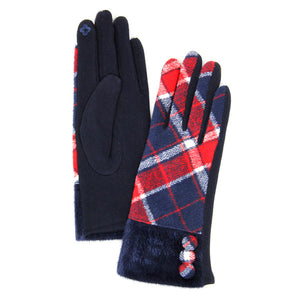 Button Accent Navy Faux Fur Cuff Gloves Navy Tartan Plaid Gloves Navy Tartan Plaid Smart Gloves Navy Tartan Plaid Warm Winter Gloves; fashionable, softly brushed poly stretch knit, finished with a hint of stretch for comfort, flexibility, elegant classy look in winter season. Perfect Gift Birthday, Christmas, Stocking Stuffer, Anniversary